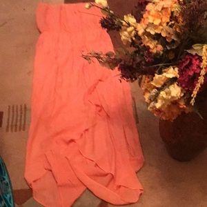 Orange Mellon colored strapless dress